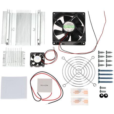 Kit de systeme de refroidissement par refrigeration thermoelectrique a effet Peltier bricolage Module de conduction de refroidisseur a semi-conducteur + radiateur + ventilateur de refroidissement + TEC1-12706