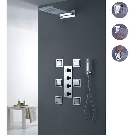 Kit de termostato de ducha de lluvia en cascada con chorros de chorro Válvula de ducha termostática