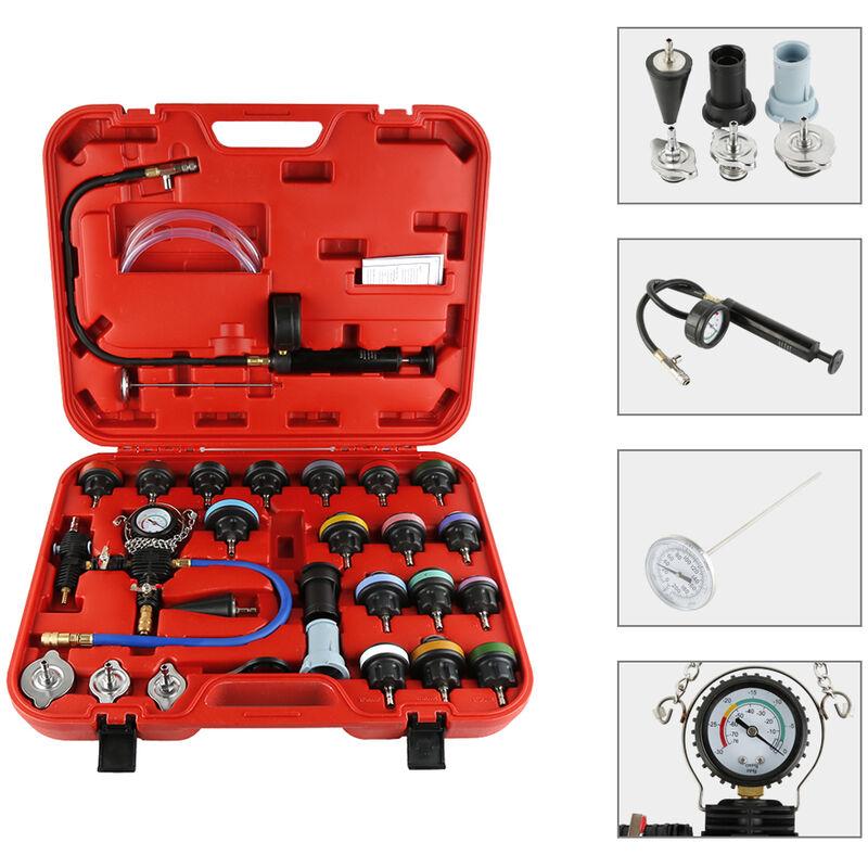 Kit de Testeur de Pression 28Pcs Radiateur Outil de Suppression pour Système de Refroidissement 58 x 47 x 10,5 cm Rouge