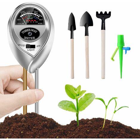 Kit de testeur de sol, testeur d'humidité 3 en 1, testeur d'acidité de la lumière et du pH avec kits d'outils de jardinage pour fleur / plante / jardin / ferme / pelouse