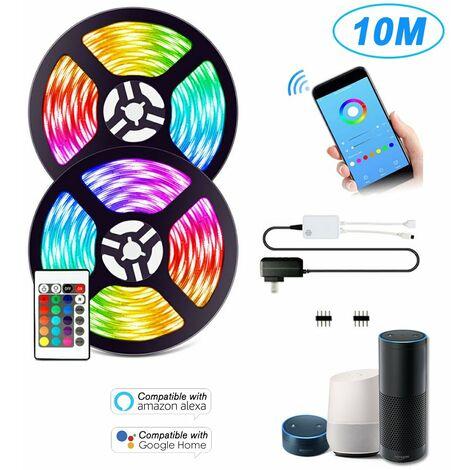 Kit de tiras de luces LED WIFI, 10 m / 32,8 pies de longitud, 5050 RGB, tira de luz inteligente con fuente de alimentacion de 12 V