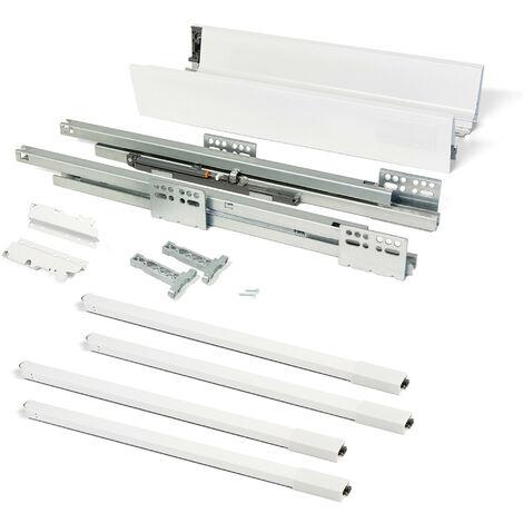 Kit de tiroir pour cuisine et sdb Vantage-Q - H. 83mm - P. 500mm - tringles de rehausse - Fermeture amortie - Acier - Blanc