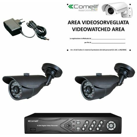 Kit de video vigilancia Comelit DVR 100 IPS y dos cámaras AHKIT040C