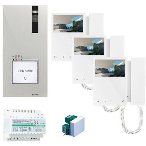 Kit de vidéophone à trois écrans Comelit à 2 fils avec vidéophone Mini et Quadra