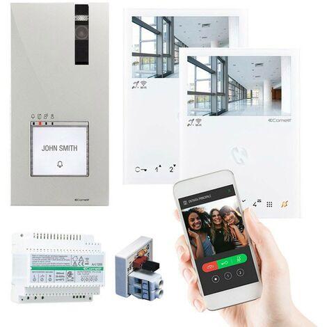 Kit de vidéophone Comelit à deux écrans QUADRA MINI WIFI 2 fils 8451B