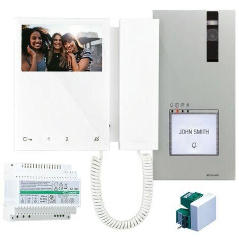 Kit de vidéophone monofamilial Comelit 2 fils avec vidéophone mini et quadra 8461M