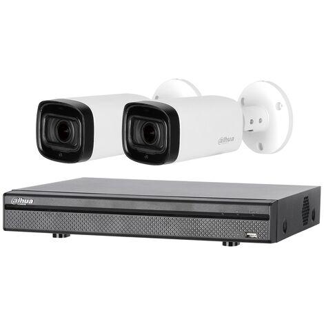 Kit de vidéosurveillance enregistreur + 2 caméras compactes - 1080p - Dahua - Noir