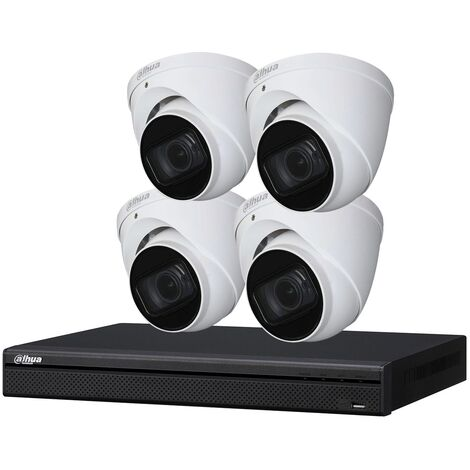 Kit de vidéosurveillance enregistreur + 4 caméras dôme - 1080p - Dahua - Noir