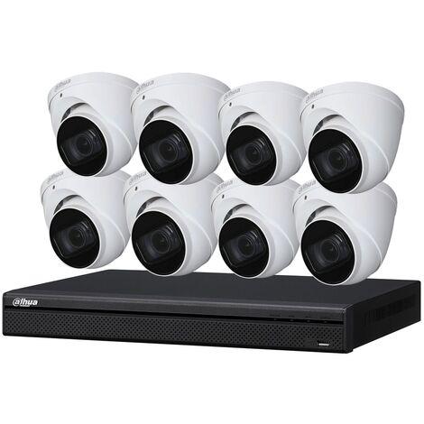 Kit de vidéosurveillance enregistreur + 8 caméras dôme - 1080p - Vision nocturne 30m - Dahua - Noir