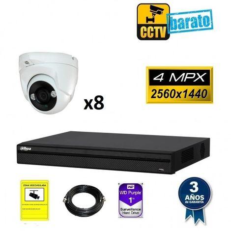 Kit de videovigilancia 8 cámaras domo 4Mpx exterior/interior óptica fija más grabador de 8 canales, Añadir mas memoria :6TB,Cambiar cables : 10m,Incluir microfono :No incluir