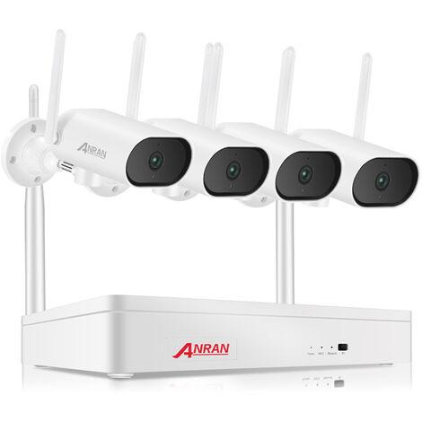 Kit de vigilancia inalambrica, 8 NVR + 4 camaras de vigilancia WiFi inalambricas de 3MP, IP66 a prueba de agua, sin disco duro, estandar europeo