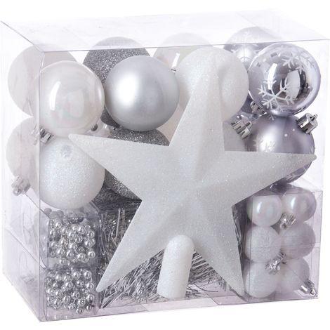 """main image of """"Kit de 44 décorations pour sapin - Rouge et gris - Guirlandes, boules et cimier - Livraison gratuite"""""""