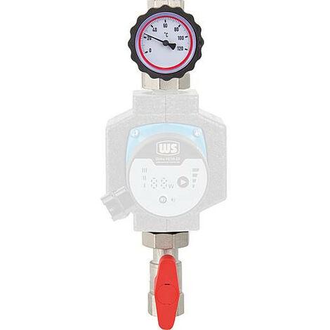 """kit d'entrée Easyflow R1""""xF1"""" robinet bois sphe thermomètre avec frein bride de robinet - sans circulateur"""