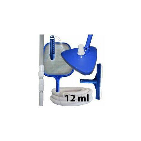 Kit d'entretien et de nettoyage piscine + manche + tuyau 12 ml