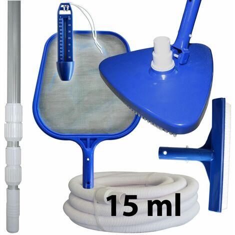 Kit d'entretien et de nettoyage piscine + manche + tuyau 15 ml