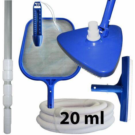 Kit d'entretien et de nettoyage piscine + manche + tuyau 20 ml