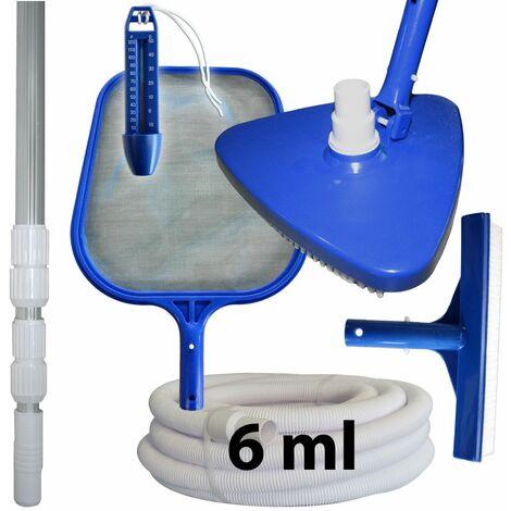 Kit d'entretien et de nettoyage piscine + manche + tuyau 6 ml