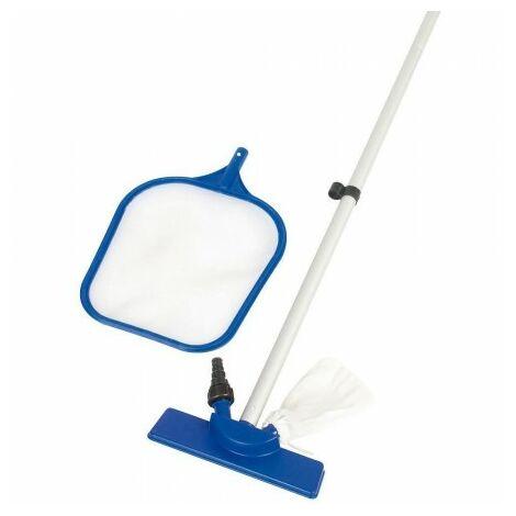Kit d'entretien nettoyeur piscines avec manche extensible, panier et perche