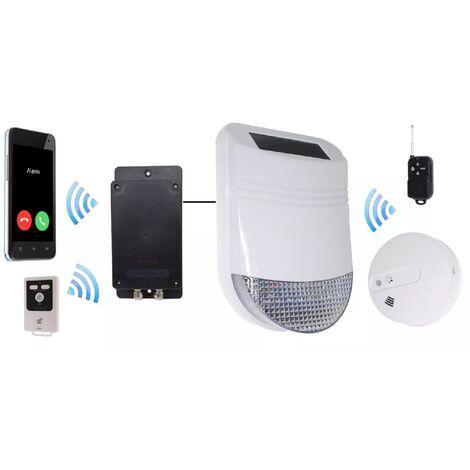 Kit détection fumée et chaleur GSM avec sirène solaire sans-fil 105dB IP66 + télécommandes (gamme HY/BT)