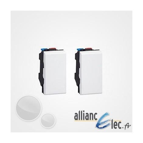 Kit Deux boutons d'inter Legrand Mosaic Blanc - Poussoir/Va-et-vient