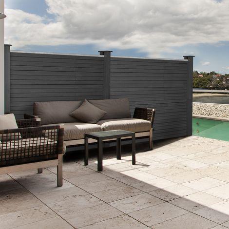Kit d'extension panneau occultant RIO en bois composite gris H.160 x L.160 cm
