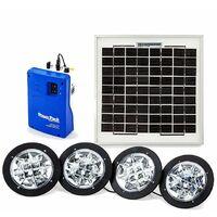 Kit di illuminazione autonomo con pannello solare monocristallino e 4 faretti a led, emergenza, barca,camper