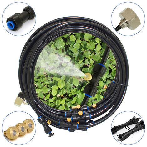Kit d'irrigation Système de brumisation,12M Brumisateur Exterieur système d'irrigation,Brumisateur de Terrasse Brumisation Refroidissement Système Idéal pour