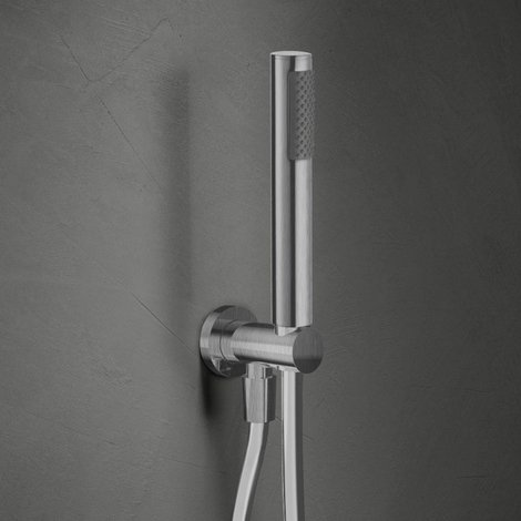 selezione mondiale di allacciarsi dentro il più votato a buon mercato Kit doccia tondo con finitura spazzolata con doccetta squadrata e  flessibile in pvc