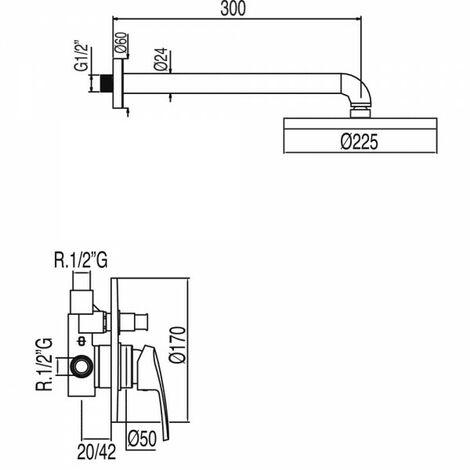 Kit douche à encastrer avec fermeture et réglage du débit - TRES 07099002