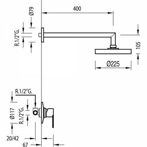 Kit douche à encastrer avec fermeture et réglage du débit - TRES 117377