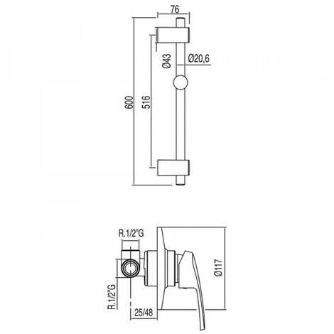 Kit douche à encastrer avec fermeture et réglage du débit - TRES 17097002