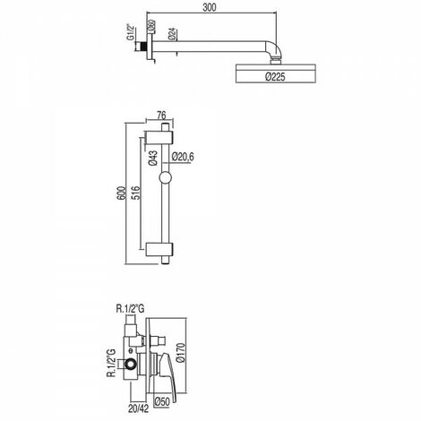 Kit douche à encastrer avec fermeture et réglage du débit - TRES 17098002