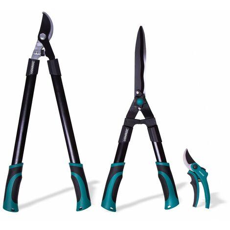 Kit d'outils de coupe-branches – 3 pièces – Élagueur, cisaille et sécateur