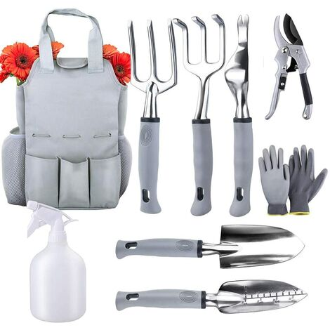 Kit d'outils de jardinage robuste 9 pièces Kit d'outils de jardinage Outils à main pour plantation, désherbage, désherbage, repiquage, jardinage Kit d'outils à main avec sac de rangement