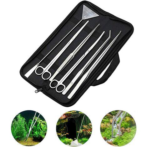 Kit d'outils pour Aquarium 6 en 1 en Acier Inoxydable pour Plantes Aquatiques Pince à épiler Ciseaux Spatule Aquascaping Set pour Plantes Aquatiques
