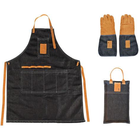 Kit du jardinier en jean : gants, tablier, repose genoux - Esschert Design