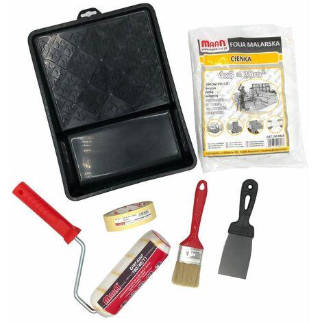 Kit du peintre 6 accessoires : bac, rouleau, spatule, pinceau, adhésif et bâche - 5951 - Maan