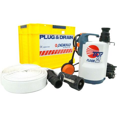 Kit d'urgence PLUG&DRAIN pour inondation - monophasé 220V - 160L/min - avec flotteur