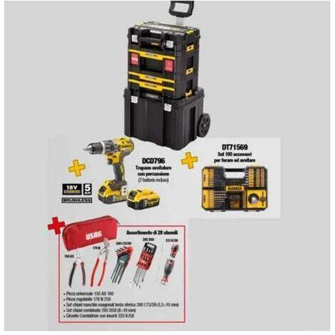 Kit DWUSK027 trolley con assortimento per elettricisti in TStak + Trapano avvitatore DCD796 + Utensili assortiti DWUSK027 DeWalt