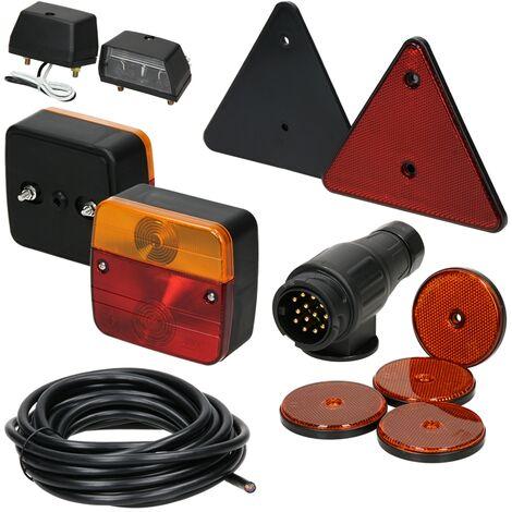Kit éclairage feux remorque homologués marque E avec réflecteurs câble 12 pièces