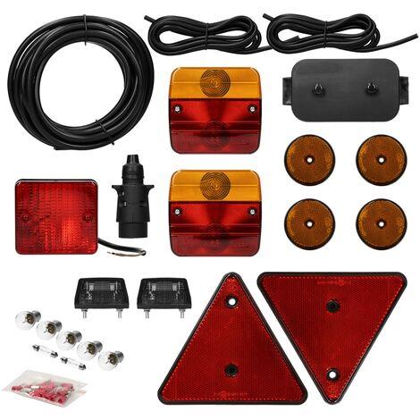 Kit éclairage feux remorque homologués marque E avec réflecteurs câble 23 pièces
