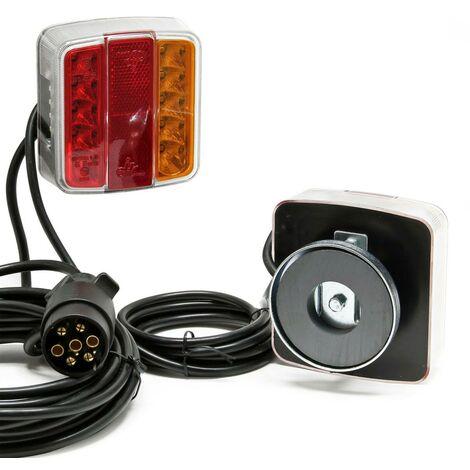 Kit eclairage / signalisation magnétique remorque à LED - cable 7m50