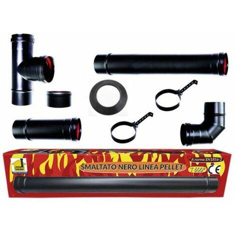 kit éco poêle à granulés tubes émaillés 80 mm tube en acier noir résistant 600 EC fabriqué en Italie conduit porcellanata