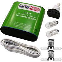 kit electrico escolar iluminacion: 2 bombillas e10, 2 portalamparas e10, 1 interruptor, 1 pila 3r12 y 1 metro de cable
