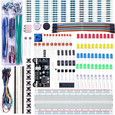 Kit Électronique Mis à Jour avec Module d'alimentation, Câbles Jumpers, Potentiomètre de précision, Plaque de Test 830 Points pour Mega 2560 Nano Raspberry Pi et STM32