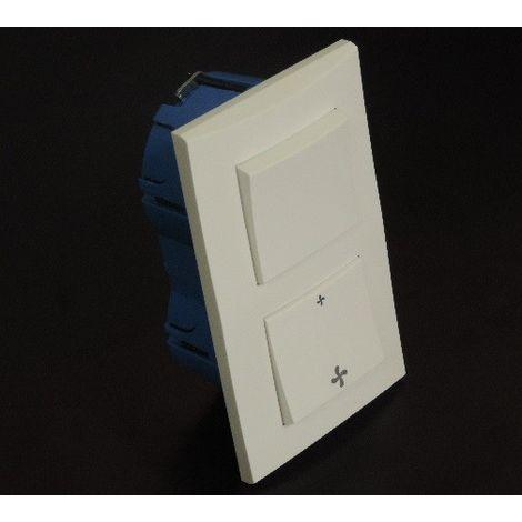 Kit encastré 1 inter VMC + V&V 10A verticale avec plaque blanche et boite placo entraxe 57mm spécial renovation pret à poser