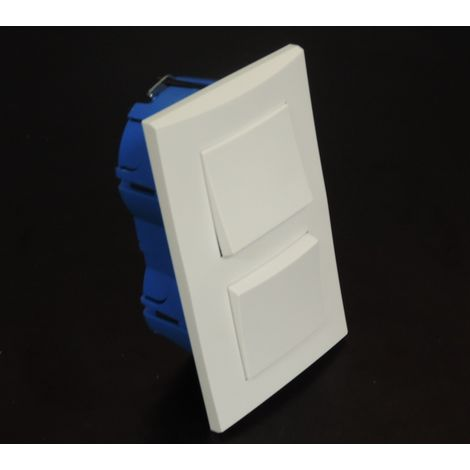 Kit encastré 1 poussoir + V&V 10A verticale avec plaque blanche et boite placo entraxe 57mm spécial renovation pret à poser