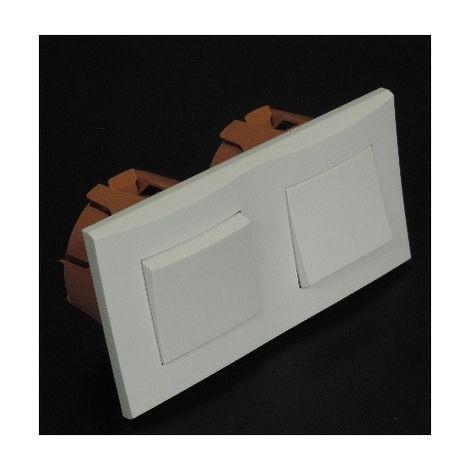 Kit encastré 2 inters va-et-vient 10A horizontal avec plaque blanche et boite placo spécial renovation pret à poser