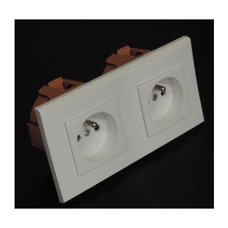 Kit encastré 2 prises 2P+T 16A horizontal avec plaque blanche et boite placo spécial renovation pret à poser