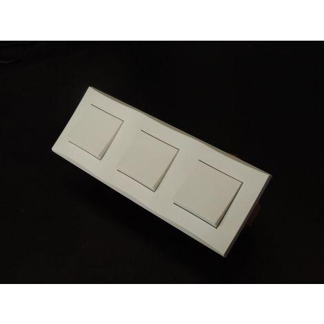 Kit encastré 3 inters V&V 10A horizontal avec plaque blanche et boite placo spécial renovation pret à poser